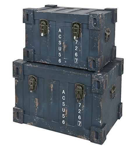 ts-ideen 2er Set Container Industrie Design Blau Kommode Schrank Aufbewahrungskiste Box Truhe Holzkiste