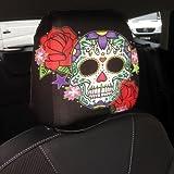 Autositz Kopfstützenabdeckung 2er Pack Candy Totenkopf Grün Design Hergestellt in Yorkshire