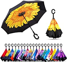 Original Deals Inverted Inside Out Umbrella | Double Layer Inverted UV Protection Unique Windproof Umbrella | Reverse Open Folding Umbrellas with C Hook for hanging on points (Yellow Sun Flower)