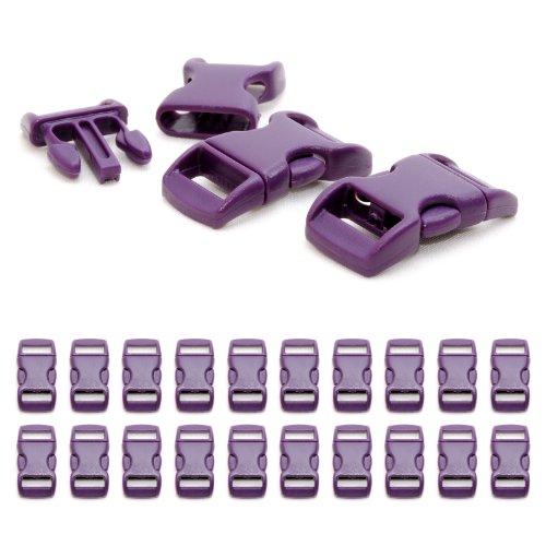 """Fermoir à clip en plastique, idéal pour les paracordes (bracelet, collier pour chien, etc), boucle, attache à clipser, grandeur: 3/8"""", 29mm x 15mm, couleur: violet, de la marque Ganzoo - lot de 20 fermoirs"""