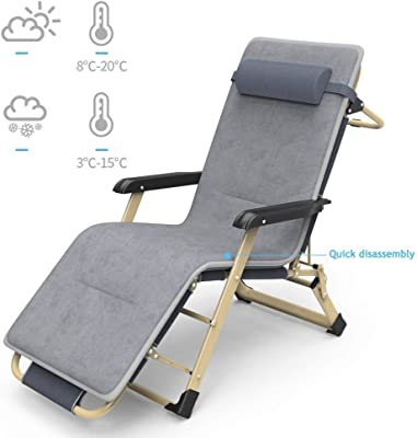 Foldable Reclining Garden Chair Camping Recliner Lounger with Adjustable Back - Fully Assembled