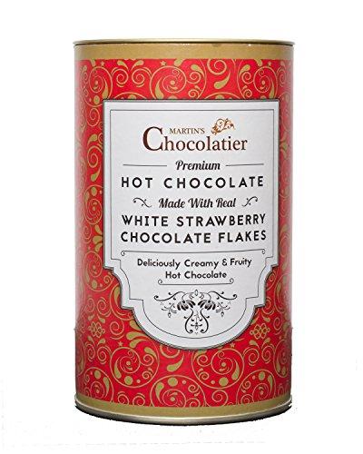 Martins Chocolatier Strawberry Hot Chocolate Luxe Drinking Chocolate Gemaakt van Real Belgian Chocolate Flakes