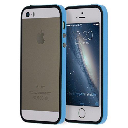 doupi Superslim TPU Bumper Quadro della Protezione Case per iPhone 5 5S SE Cover, Blue