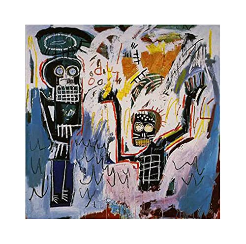 《Bautismo》 Jean-Michel Basquiat Cuadro en Lienzo| Lienzos Decorativos | Cuadros Decoración Dormitorios | Cuadros Decoración Salón (55x55cm (22x22inch), Sin marco)