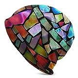 Lsjuee Gorro de lana para hombre con mosaicos de vidrio artístico Gorro de punto Suave y cálido Sombreros Negro