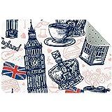 Yoliveya Felpudo suave de Inglaterra Londres, colección de elementos absorbentes, antideslizantes, alfombra de goma para el hogar, oficina, 60,9 x 40,6 cm