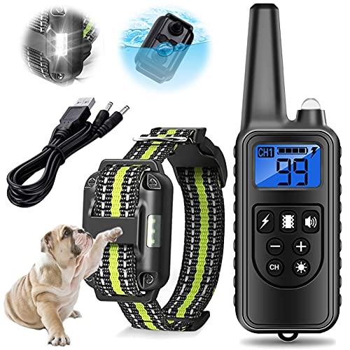 Hunde-Bellhalsband mit Fernbedienung 60cm Einstellbar USB Wiederaufladbar Wasserdicht Anti-Bell Halsband für kleine mittelgroße und große Hunde,Grün