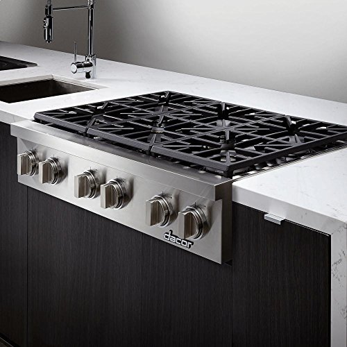 """Dacor Discovery IQ DYRTP486SNG 48"""" Natural Gas Cooktop with 2 SimmerSearTM Burners and 4 High Performance Sealed Burners with True Simmer in Stainless"""