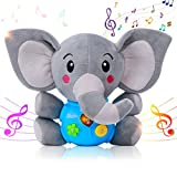 HomeMall Sooth Plush Elephant Baby Toy, Toddlers Educational Musical Learning Sensory Baby Toy, Music & Light Up Toy for 0 to 36 Months Months & 1 Year Old Kids Boys Girls Gifts