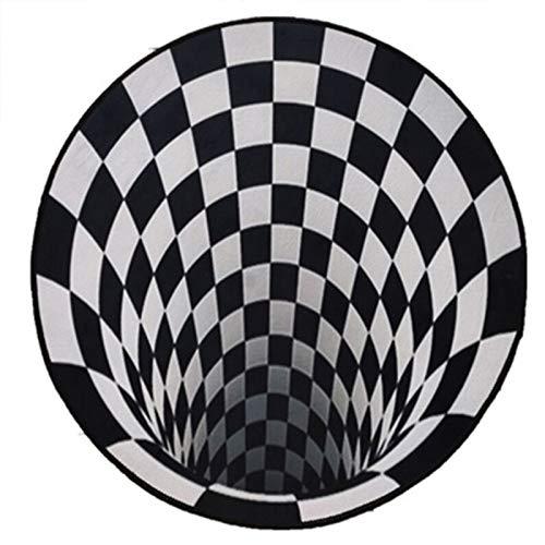 Grillmatte Bodenschutzmatte Home 3D Illusion Teppich Anti-Rutsch-Teppich Runde Quadratische Teppiche Anti-Rutsch-Vlies Dauerhafte Fußmatte 3D Visual Bodenteppich Teppich Für Wohnzimme(Size:80cm/31in)