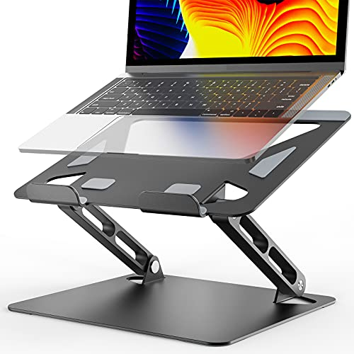 Laptop Stand , Ergonomic Laptop Stand Adjustable Height, Aluminium Alloy Notebook Stand Compatible for More Laptops 10- 17 inches Black