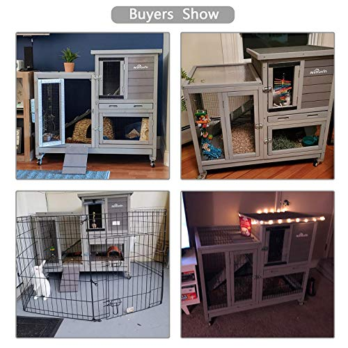 Rabbit Cage Indoor Rabbit Hutch Bunny Hutch Outdoor, Guinea Pig Cages with Removable Bottom Wire Netting - Easy Clean
