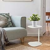Tomile Mesa auxiliar para ordenador portátil, sofá en forma de C, mesa auxiliar de centro con acento de metal para espacio pequeño, fácil montaje (color blanco)