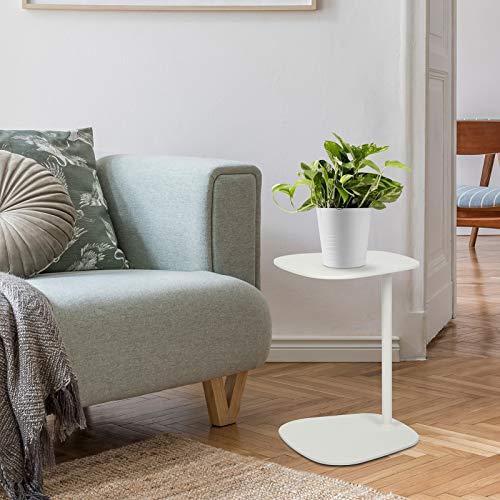 Tomile Chaise lounge e tavolino da divano, tavolino multifunzionale a forma di C, può essere usato come tavolino da snack per piccoli spazi (bianco)