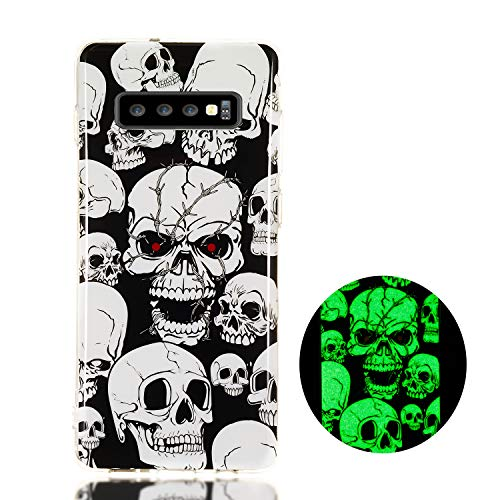 Fusicase for Galaxy S10 Plus Glow Case Noctilucence Glow in The Dark Case for Samsung Galaxy S10 Plus Clear Case Ultra Thin TPU Shockproof Print Glow Case for Galaxy S10 Plus Skull