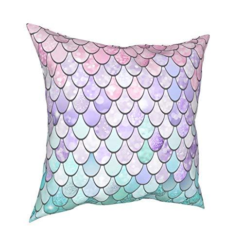 Fundas de almohada Funky Sirena 45.7 x 45.7 cm – Impresión de doble cara, fundas de almohada cuadradas decorativas para sofá, cama, coche