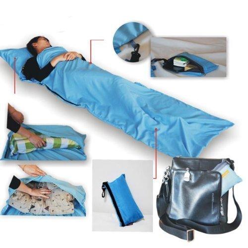 Soie simple sac de couchage camping voyage Mini Sac de couchage (Bleu ciel)