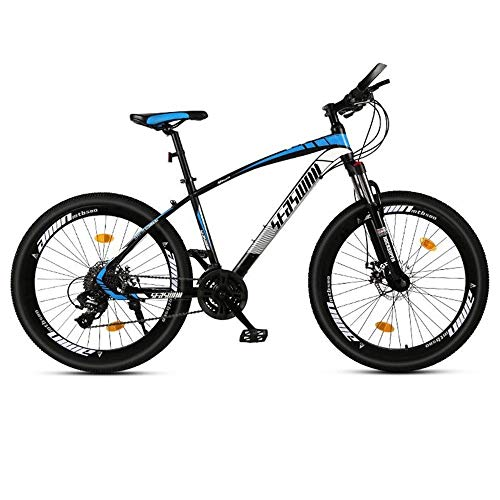 """JLQWE Vélo VTT Mountain Bike, 26"""" Vélos Hommes/Femmes VTT, Cadre en Acier Au Carbone, Double Disque De Frein Et La Fourche Avant (Color : Black+Blue, Size : 21 Speed)"""