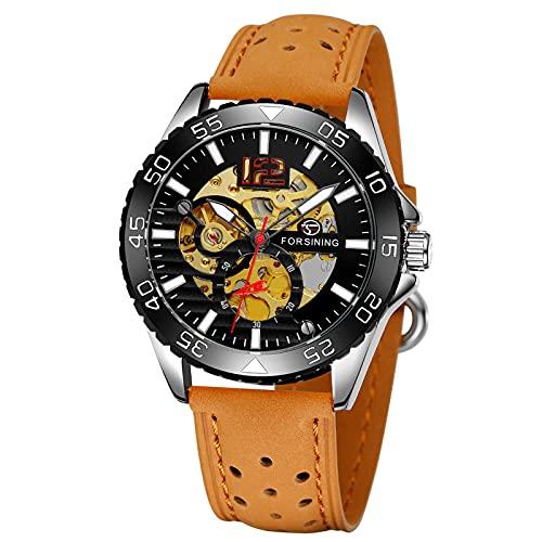 Montloxs Reloj para Hombre Relojes mecánicos automáticos con Correa de Cuero Reloj de Pulsera Luminoso con diseño de Esfera Esqueleto clásico