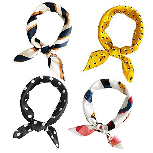 Jurxy 4 Stück Damen Seidenschal Damenschal Drucken Seidentuch Quadratischer Schal Kopftuch Halstuch Farbig Printed Halstuch - 50x50cm - Stil 4