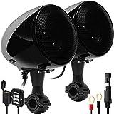 GoHawk AN4 Gen.3 All-in-One Built-in Amplifier 4' Full Range Waterproof Bluetooth Motorcycle Stereo Speakers Audio Amp System w/AUX for 1 to 1-1/4 Bar Harley ATV RZR UTV 4 Wheeler (AN4 Black)