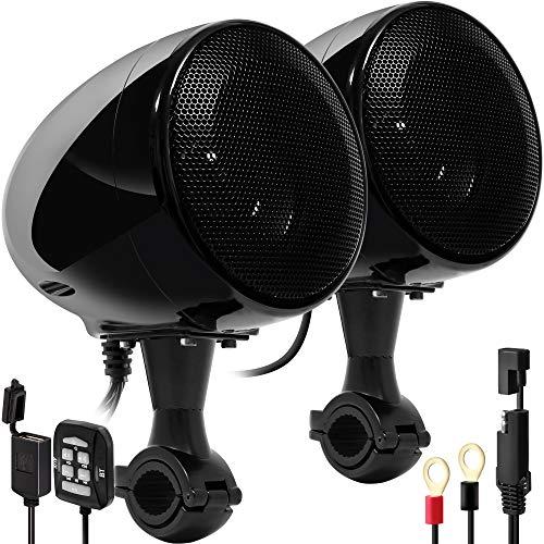 "GoHawk AN4 Gen.3 All-in-One Built-in Amplifier 4"" Full Range Waterproof Bluetooth Motorcycle Stereo Speakers Audio Amp System w/AUX for 7/8 to 1-1/4 Bar Harley ATV RZR UTV 4 Wheeler (AN4 Black)"