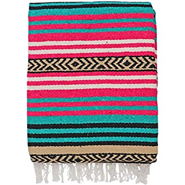 El Paso Designs Peyote Hippie Blanket Classic Mexican Style Falsa Stripe Pattern in Vivid Peyote Colors. Throw, Bed, Tapestry, or Yoga Blanket. Hand Woven Acrylic, 57  x 74  (Peyote 3)