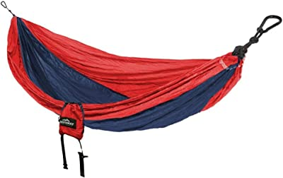 Castaway 9 ft. Nylon Parachute Bag Hammock in Red and Navy