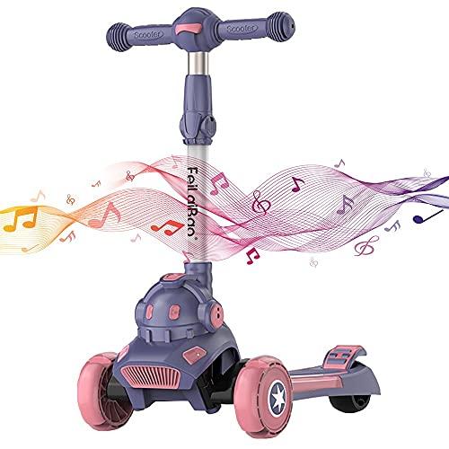 angroups Patinete Scooter Niña y Niño 3 a 8 a 14 Años, Altura Ajustable Plegable Patinete 3 Ruedas Infantil Cooter 3 Ruedas LED Extra Anchas Luminosas Scooter Apoyan 100 Kg