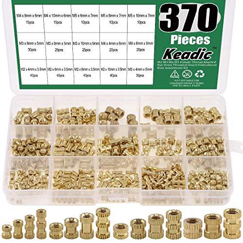 OCR M2 M3 M4 M5 Female Thread Knurled Nuts 330PCS Brass Threaded Insert Embedment Nuts Assortment Kit