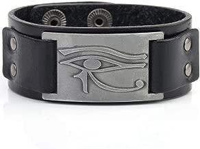 My Shape Eye of Horus Ra Thoth Udjat Leather Cuff Bracelet Egyptian Amulet Pagan Jewelry