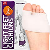 Half Toe Sleeve Metatarsal Pads - Soft Gel Ball of Foot Cushion - Mortons Neuroma Callus Metatarsal Foot Pain...