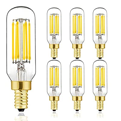 T6 LED Bulb, 60W Candelabra Dimmable Chandelier Light Bulbs 4000K Daylight White Clear 600lm 6W E12 Vintage Tube LED Filament Edison Candle Bulb with Decorative 6Pack.