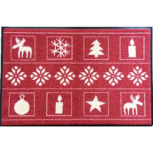 Waschbare Fußmatte - Weihnachten rot 50x75 cm Wash+Dry Bodenmatte skandinavisch - Fußabstreifer - Türmatte Advent