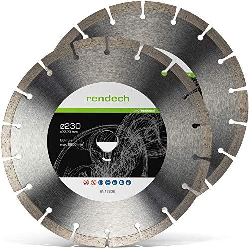 2x Rendech® Diamantscheibe 230mm - Profi Qualität für Beton, Granit, Stein uvm. Diamanttrennscheibe für den beruflichen Dauereinsatz (2er Pack)