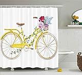 /N Duschvorhang Aquarell-Stil-Effekt von Fahrrad mit Blättern & Blüten in Korbmuster Dekoration