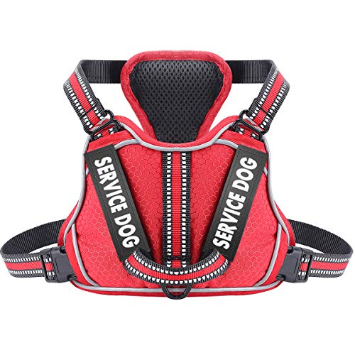 Service Dog Harness with 4pcs Free Labels, Adjustable No Pull Dog Vest with Nylon Handle - Upgrade Fabric 3M Reflective & Breatheable Easy On and Off Safety Pet Halters - No More Pulling or Choking