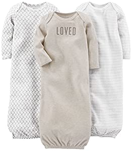 Three long-sleeve gowns in baby-soft cotton featuring expandable shoulders Cinched hems to keep feet warm and covered Makes night time changes easy with no snaps or zippers Fold-over cuffs featured only on sizes preemie and newborn. Product sizes 0-3...
