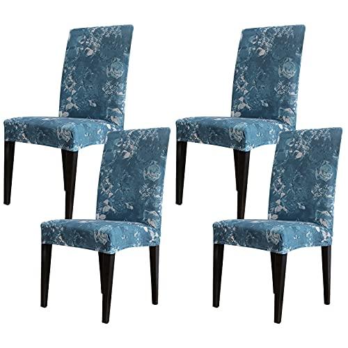 Padgene Universal Stretch Stuhlhussen 4er Set, Abnehmbare Stuhlbezug Sitz Stuhl Esszimmer überzug Stuhlüberzu Abdeckungen Hussen für Husse Hotel Party Bankett