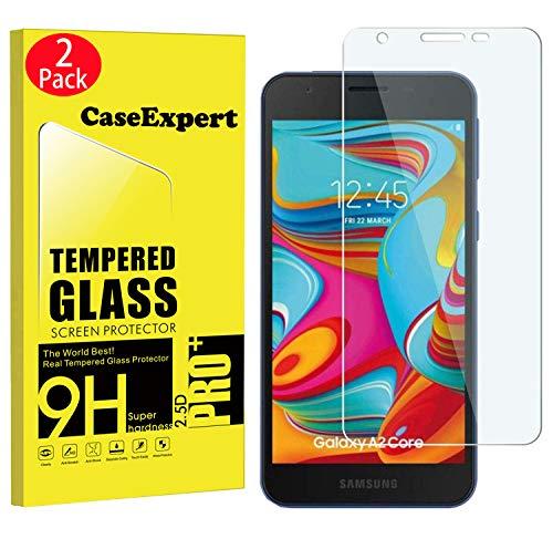 CaseExpert 2 Pack – Samsung Galaxy A2 Core Protector de Pantalla, Ultra Tanque Transparente Cristal 9H…