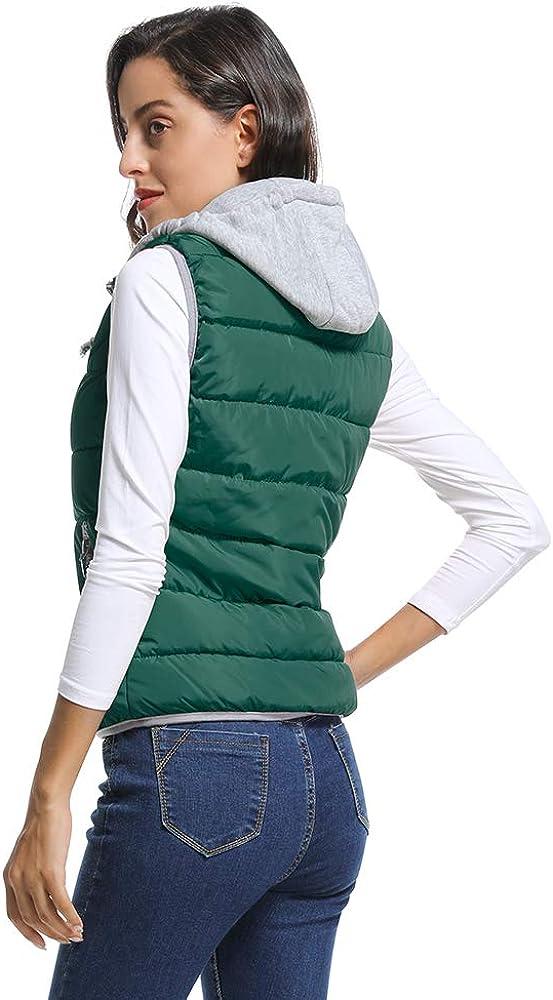 Phorecys Women Quilted Zip Gilet Hooded Sleeveless High Neck Vest Jacket