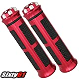 Sixty61 Gel Hand Grips for Kawasaki Ninja ZX6R ZX9R ZX10R ZX14R, Black and Red, Comfort Racing, ZX6 ZX10 ZX14