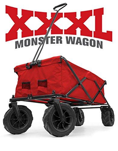 Creative Outdoor XXXL Monster Folding Wagon (Red), 56'x24'x24' - Multipurpose All-terrain Collapisble Cart for Beach Trips, Camping, Gardening & Yardwork, Picnics & More
