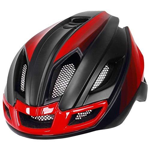 Fahrradhelme mit Rücklicht, für Herren und Damen, Integral geformter Fahrradhelm, Mountainbike, Rennrad, rot