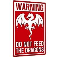 警告標識、レトロで面白いアルミ金属壁標識は屋内/屋外、12x8インチ簡単に取り付け-ドラゴンに餌を与えないでください