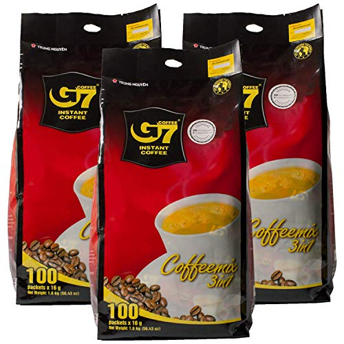Trung Nguyen - G7 3 In 1 Instant Coffee - 100 Packets (3 Pack)   Roasted Ground Coffee Blend with Creamer and Sugar, Suitable for Most Coffee Brewing Methods, (16gr/stick)