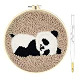 Wool Queen Punch Needle Starter Kit | Animal Rug Hooking Beginner Kit, with an Adjustable Embroidery Pen and 8.6'' Hoop for Kids Adults Craft Gift-Panda