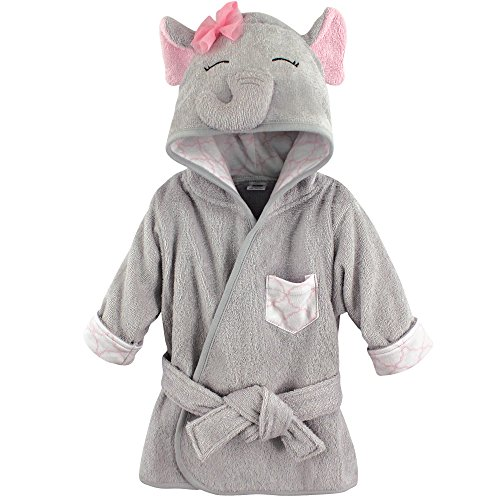 Hudson Baby Animal Face Hooded Bathrobe, Pretty Elephant, 0-9 Months