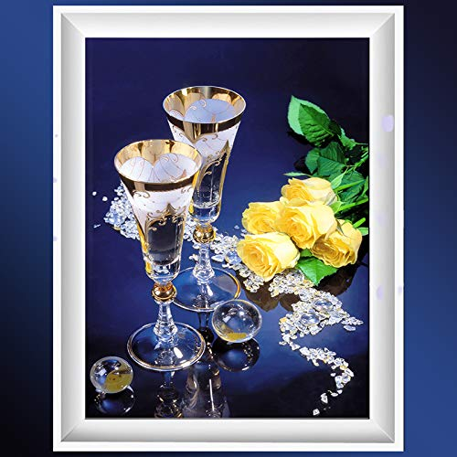 5D diamantschilderij knutselen diamant borduurwerk roze wijnglas mozaïek strass kerstdecoratie