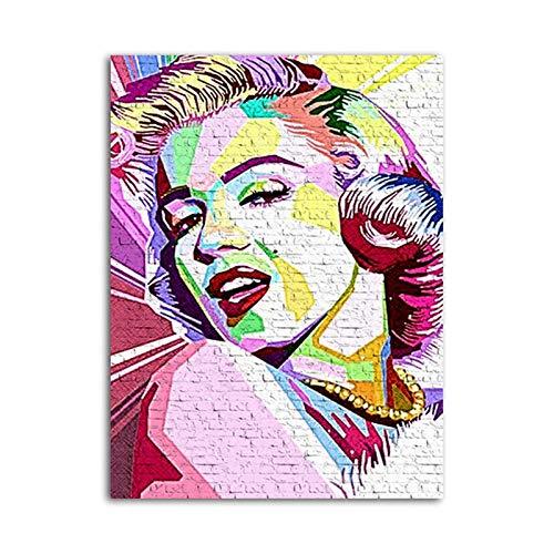Wxuuly Marilyn Monroe Movie Star Vintage Art Posters e Impresiones sobre Lienzo Imágenes artísticas de Pared para Sala de Estar Dormitorio Decoración para el hogar A4 60x90CM (Sin Marco)